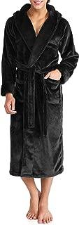 Men's Hooded Robe Plush Coral Fleece Warm Cozy Big and Tall Long Bathrobe