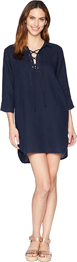 3/4 Sleeve Tie Front Dress