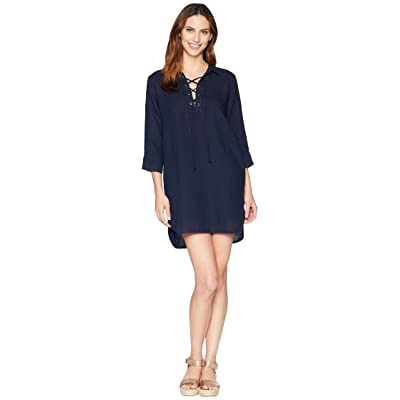 Allen Allen 3/4 Sleeve Tie Front Dress (Lapis) Women
