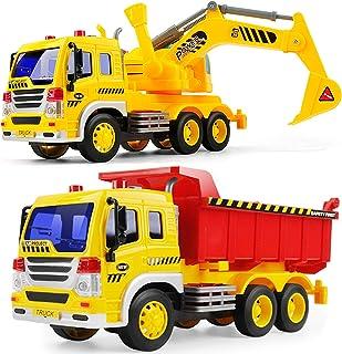GizmoVine Jouet Camion Pelleteuse Voiture Excavatrice pour Enfant 3 4Ans Benne Vehicule de Chantier Tracteur Grue de Const...