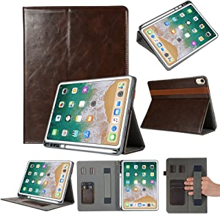 LFPING New Genuine Leather Protective Case for iPad Pro 11 inch (2018), with Pen Slot & Holder & Card Slots (Color : Brown)