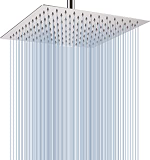 Large Rainfall Shower Head, Voolan Adjustable 12'' Luxury Fixed Showerhead Made of 304 Stainless Steel, Universal Wall and Ceiling Mount (Square)