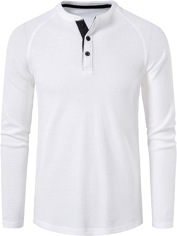 vdgthytj Men Long Sleeve Dress Shirt Button Down Regular-Fit Long-Sleeve,Henley Solid Blouse Casual Modern/Fitted Shirt