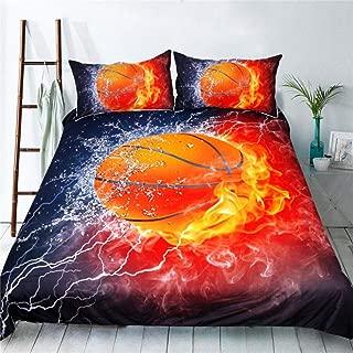 3D Basketball Flame Bedding Set Duvet Cover Basketball bedding, Basketball Bedspread 3 Piece Duvet Cover Sets Full Size