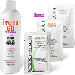 INVERTO 60 Keratin Treatment for BLONDE HAIR Formaldehyde Free Keratin Hair Treatment Super Fast Application Process includes Starter kit Results are Instant healthy Shiny Beautiful hair
