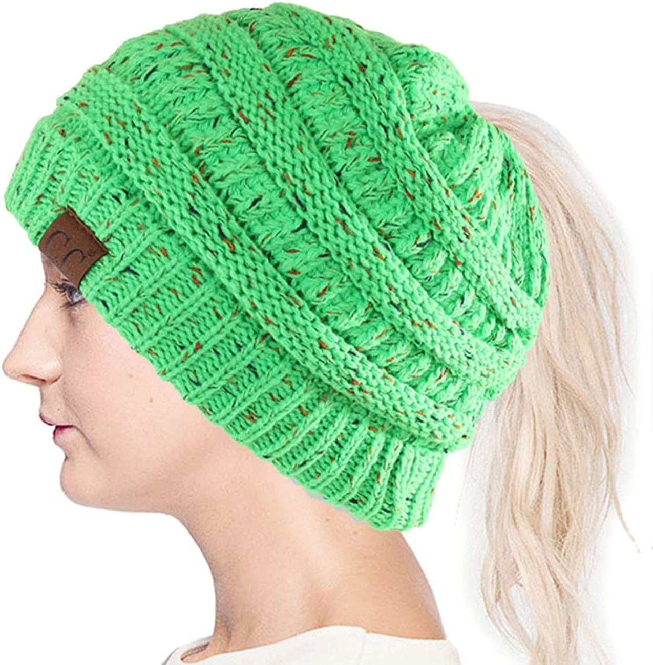 ScarvesMe Women Confetti BeanieTail Ponytail Messy Bun Solid Ribbed Beanie Hat Cap
