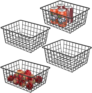 Wire Storage Basket iSPECLE Small Metal Wire Basket for Storage Freezer Baskets Organizer Bins for Kitchen, Pantry, Closet, Laundry Room, Cabinets, Garage 4 Pack Black