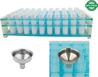 DIY Lip Balm Kit - Easy Way to Fill Lip Balm Containers - NO Tipping Over - NO Spilling! Lip Balm Containers (50 White) & Easy Pour Funnel & Plastic Test Tube Rack Tube Holder Holds 50 Lip Balm Tubes