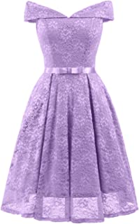 Women's Cocktail Dress Vintage Lace Off-The-Shoulder Homecoming Swing Dress Juniors