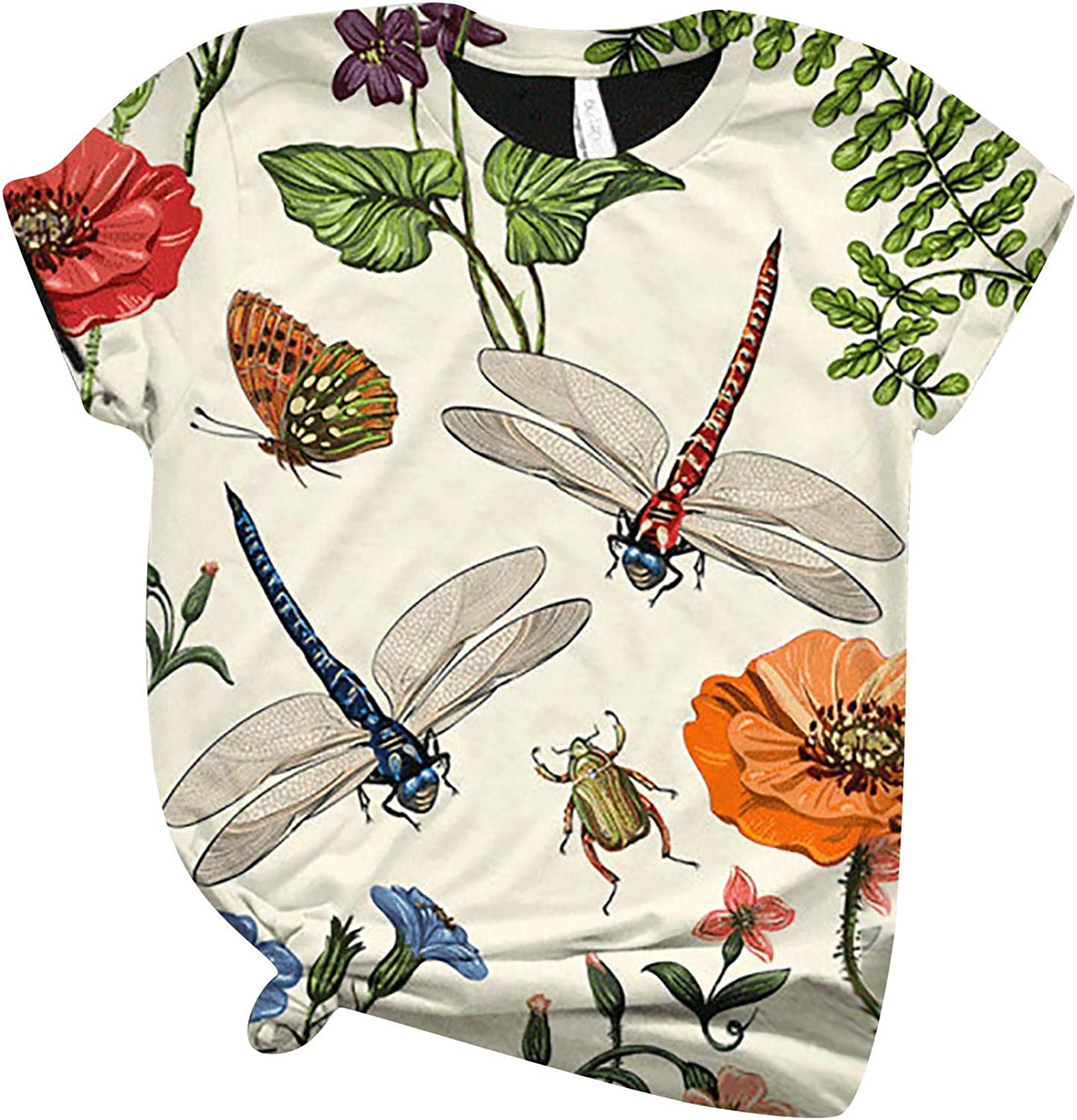 Womens Short Sleeve Tops, naioewe Dragonfly Print Shirts for Women Plus Size O-Neck T Shirt Blouse Tops Graphic Tees