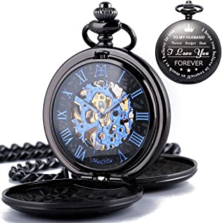 Mechanical Double Cover Roman Numerals Dial Skeleton Engraved Pocket Watches with Gift Box and Chain Personalized Custom Engraving Gfit for Husband Lovers Soulmate Men