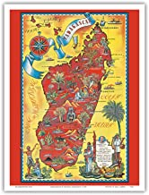 Madagascar - Map - Africa Island - Vintage Illustrated Pictorial Map by Maurice Tranchant c.1952 - Master Art Print - 9in x 12in