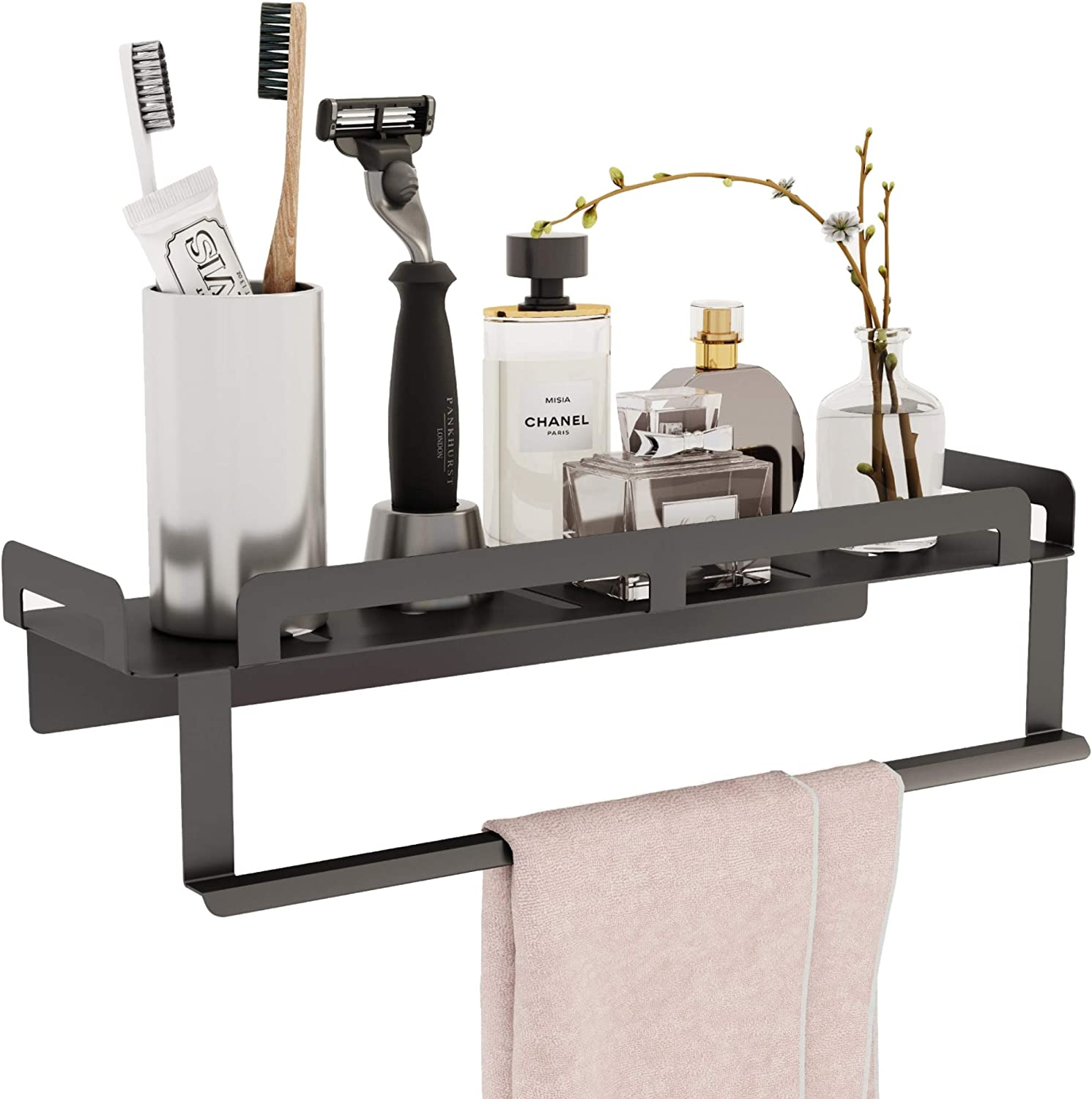Amazon Com E Room Trend Bathroom Shelf With Towel Bar 15 7 Inches Extra Thick Floating Shelf Drain Design With Hanging Bar Wall Mounted With No Drilling Installation For Bathroom Toiletries Or Kitchen A025 Home