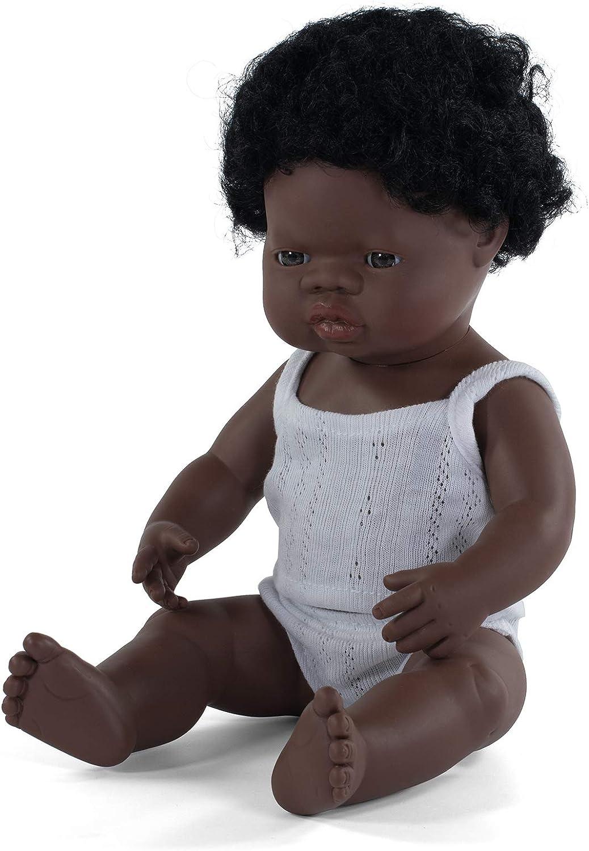 Miniland – Muñeco bebé Africano Niño de vinilo suave de 38cm con rasgos étnicos y sexuado para el aprendizaje de la diversidad con suave y agradable perfume. Presentado en caja de regalo.