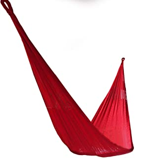 Handmade Indoor and Outdoor Hammock, Single or Double, Lightweight and Durable (Medium (One Person), Red)