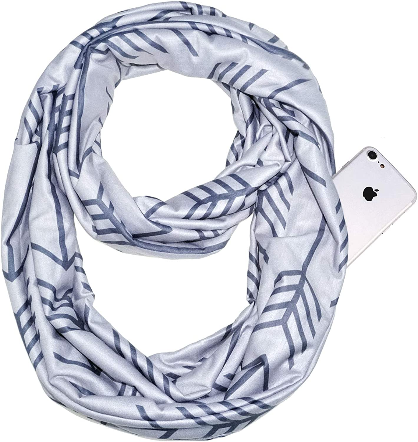Glamorstar Fashion Infinity Scarf Wrap Scarf Fish Bone Pattern Travel Scarf with Zipper Pocket