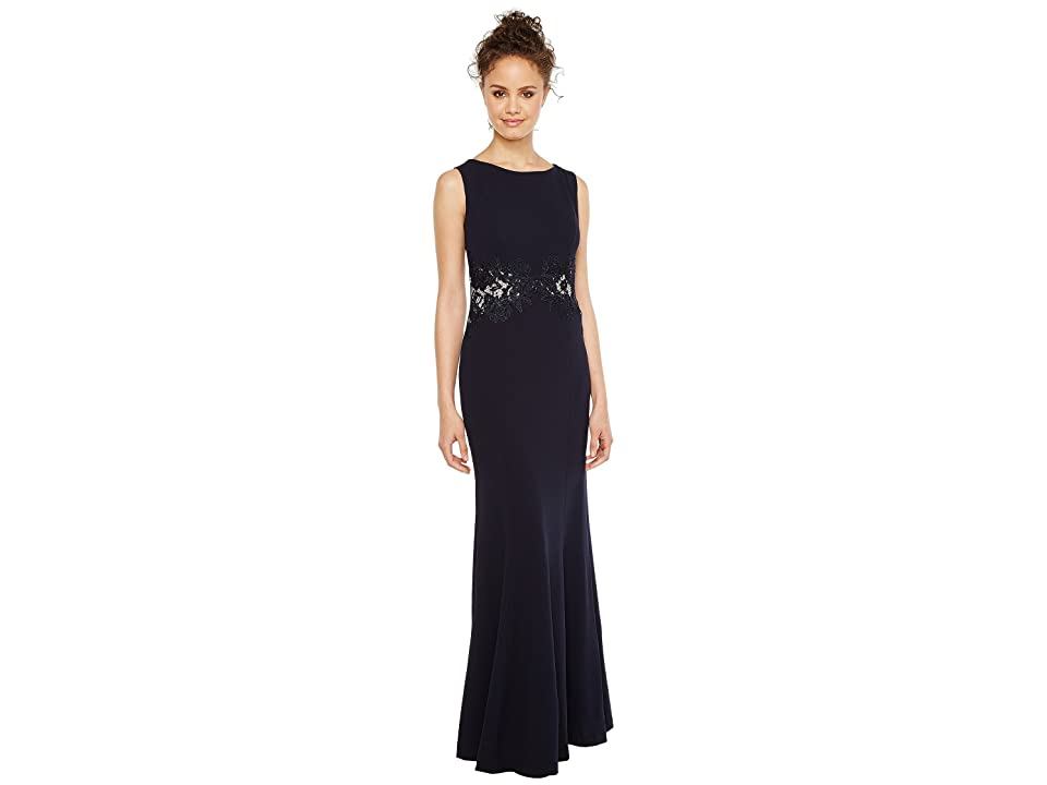 Sangria Solid Crepe Evening Gown with Lace and Illusion Waist Detail (Navy) Women's Dress