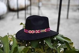 Sombrero de Gamuza artesanal negro M con arte Rosa
