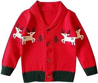 FWEIP Baby Unisex Christmas Elk Knit Cardigan Sweater Boys Girls Autumn Winter Outdoor Walking Jacket Top