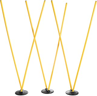 Crown Sporting Goods 6 Agility Poles with 3 Bases - Highly Visible, Yellow Poles, Soccer & Football Agility Training Equipment, Improves Lateral Speed, Balance, Quickness