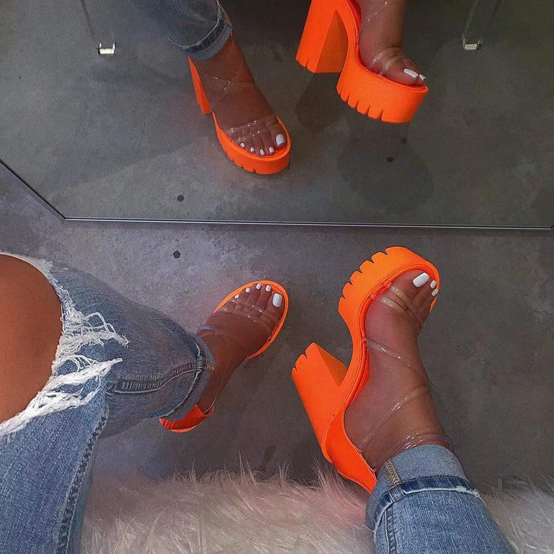 Niceast Womens Sandals Zipper Thick high Heels Cellophane Tape Open Toe Comfortable Cute Platform Wedge Sandals Casual Summer Beach Sandals for Women