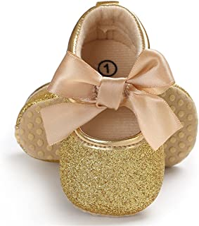 Baby Girls Mary Jane Flats with Bowknot Soft Sole Non-Slip Toddler Infant First Walker..