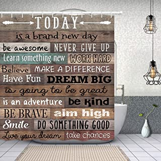 NYMB Inspirational Quotes Shower Curtain, Funny Words Today is A Day Print on Vintage Wood, Polyester Fabric Waterproof Plank Shower Curtain for Bathroom, Bath Curtain Hooks Included,70in