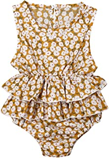 Baby Romper Jumpsuit Bodysuit with Waist Double Ruffles Edge Floral Print Sleeveless