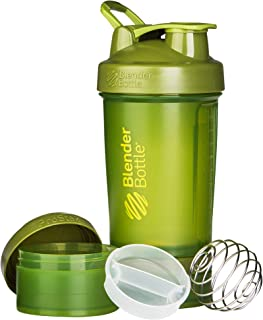 BlenderBottle ProStak System with 22-Ounce Bottle and Twist n' Lock Storage, Moss Green