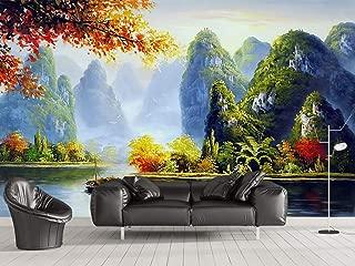 GIKMK 3D Wallpaper Mural Custom Golf Course Green House Landscape Green Large Wall