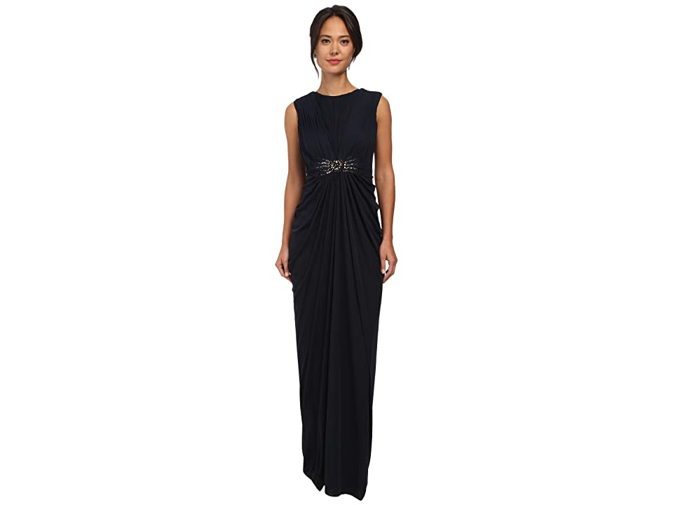 Adrianna Papell Cap Sleeve Stretch Tulle Gown (Ink) Women