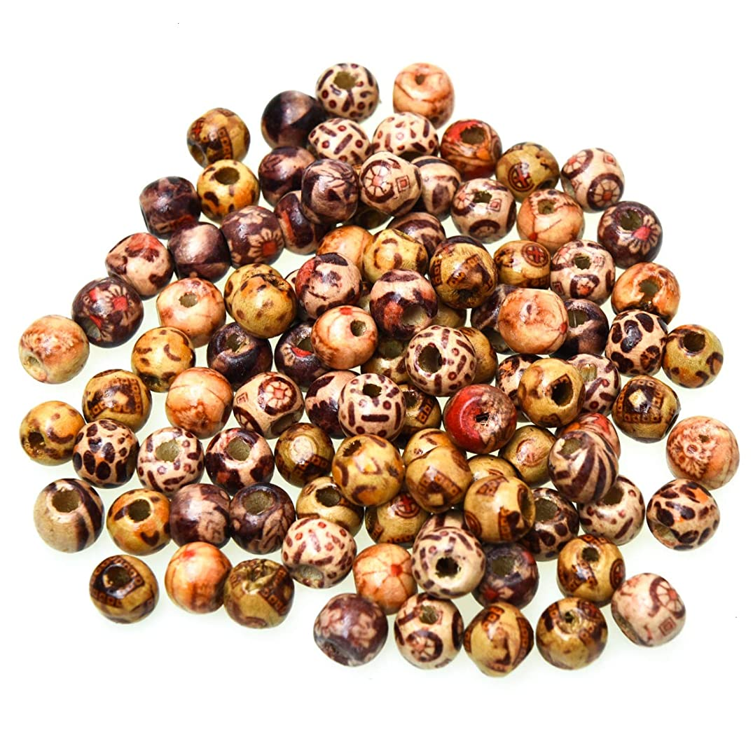 Monrocco 300 Pieces Printed Wooden Beads Mixed Wood Loose Spacer Beads for Jewelry Making DIY Craft Accessories