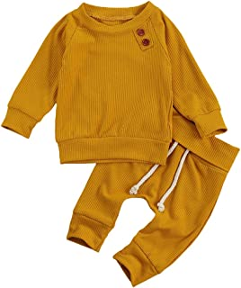 Baby Unisex Pajamas, Newborn Baby Boy Girl Knit Outfit, Long Sleeve Solid Sweatshirt Top+Drawstring Pants 2PCS Clothes Set