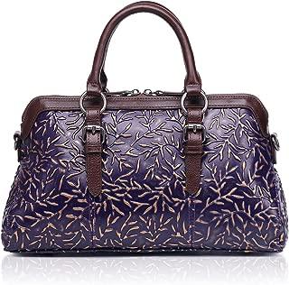 APHISON Women Genuine Leather Handbag Large Capacity Tote Bags Embossed Design Shoulder Bag For Ladies 81084