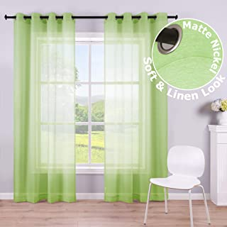 Green Sheer Curtains Panel 84 Inches Long 2 Panels Grommet Faux Linen Voile Window Drapes Semi Sheer Curtains for Nursery Living Room Kids Bedroom Decor 1 Pair 52 Inch Wide Set of 2 Light Lime