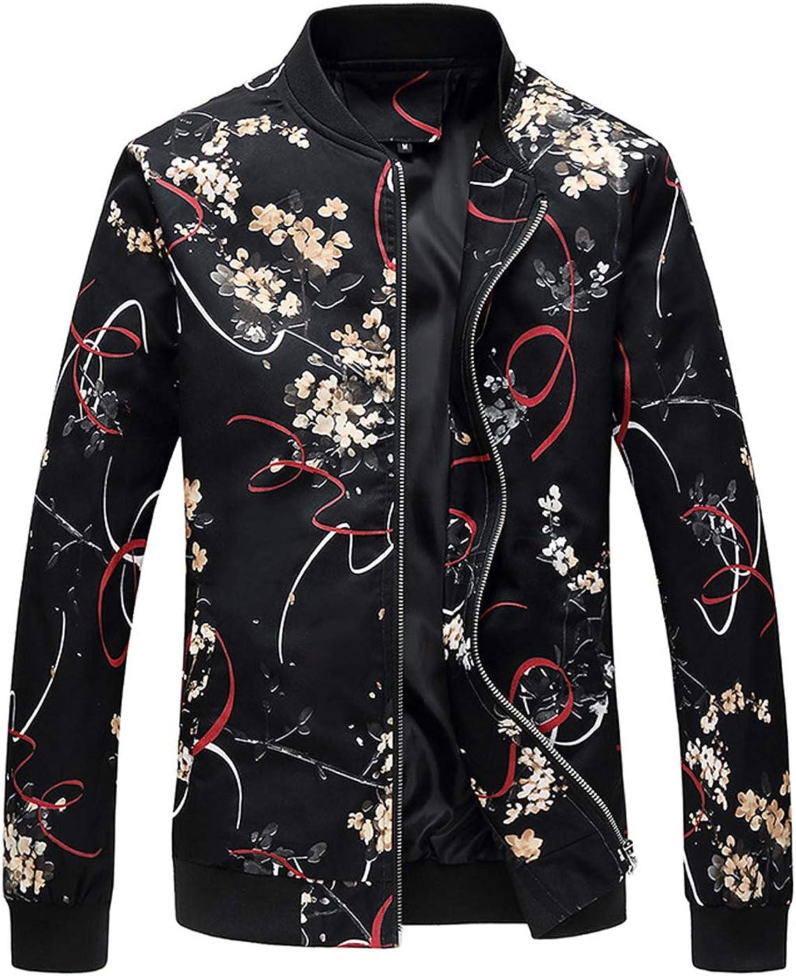 NXSTB Men's Bomber Tucson Mall Jacket Casual Slim Philadelphia Mall Printed Coat Outerwear Fit