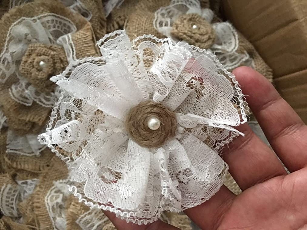 Handmade Burlap Roses with Lace (Pack of 10)