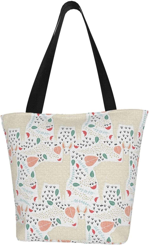 Llama White Lovely Leaves Themed Printed Women Canvas Handbag Zipper Shoulder Bag Work Booksbag Tote Purse Leisure Hobo Bag For Shopping