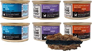 I and love and you Grain Free Cat Food 3 Flavor 6 Can Bundle with Toy, (2) Each: Oh My Cod, Purrky Turkey, Chicken Me Out (3 Ounces)