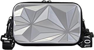irisaa Handy Umhängetasche Hart ABS kofferform - Crossbody Handtasche 3D Muster Oberfläche kleine Handytasche zum Umhängen