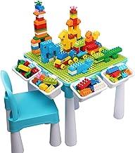 Juego de mesa de actividades múltiples 5 en 1 para niños, 128 piezas de bloques de construcción grandes Compatible con ladrillos de juguete, Incluye 1 silla y mesa de bloques de con almacenamiento