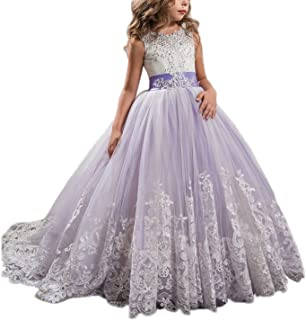db96493176 APXPF Long Tulle Flower Girl Dress Pageant Dresses Kids Prom Puffy Ball Gown