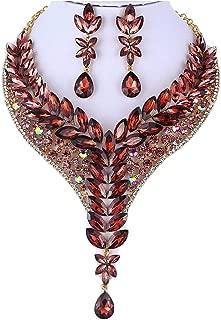 Ivy Austrian Rhinestone Crystal Statement Necklace Earrings Set Purple Burgundy N999