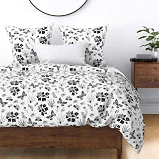Roostery Duvet Cover, Greyscale Butterflies Plants Black and White Vintage Nature Butterflie Botanical Drawing Print, 100% Cotton Sateen Duvet Cover, Twin