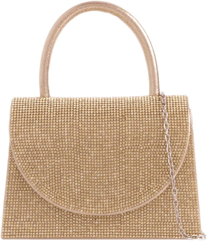 Girly Handbags Womens Diamante Top Handle Clutch Bag
