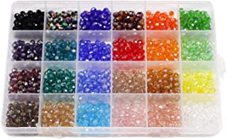 6mm Briolette Faceted AB Beads Glass Beads Crystal Spacer Beads Rondelle Shape for Jewelry Making Bracelets Necklaces Multicolor Colors with Container Box (24 Color Total 1200PCS)