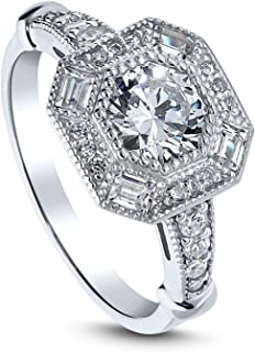 Rhodium Plated Sterling Silver Art Deco Milgrain Halo Engagement Ring Made with Swarovski Zirconia Octagon Sun Cut 1.79 CTW