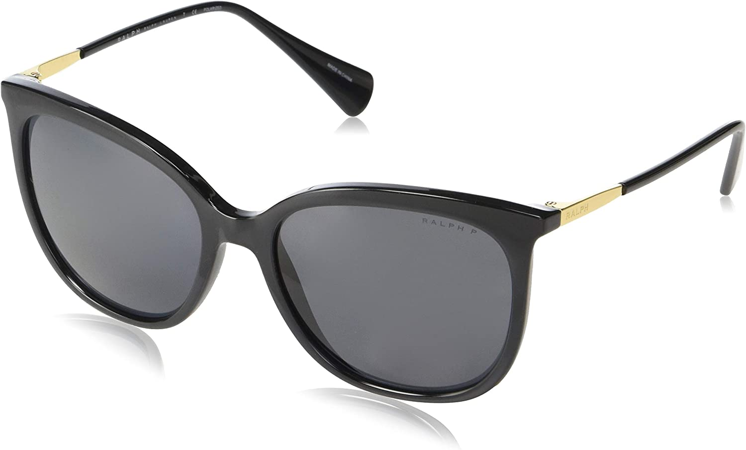 Ralph by Ralph Lauren Women's 0ra5248 Polarized Square Sunglasses, Black, 56.0 mm