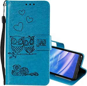 Nadoli Wallet Case for Galaxy A50 Cut Funny Embossed Flower Owl Premium Leather Wrist Strap Magnetic Closure Bookstyle Protective Flip Cover for Samsung Galaxy A50