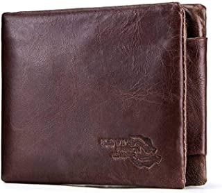 Leather Bag Mens Men's Leather Wallet Vintage Leather Clutch High Capacity (Color : Brown)